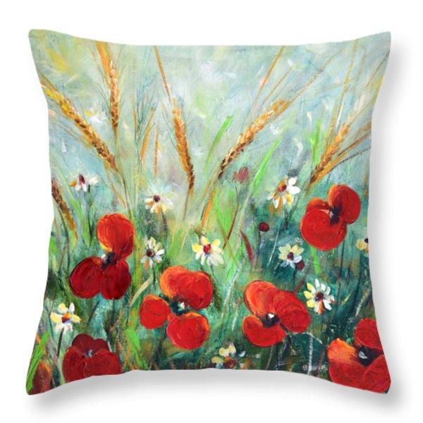 Throw Pillows - Field Flowers Throw Pillow by Gina De Gorna