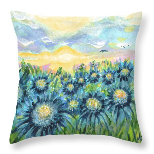 Field Of Blue Flowers Throw Pillow by Holly Carmichael