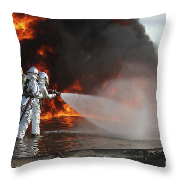 Firefighting Marines Battle A Huge Throw Pillow by Stocktrek Images