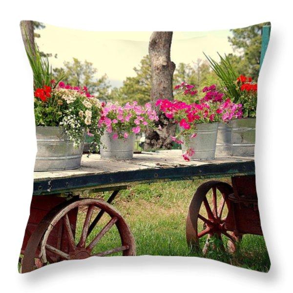 Flower Wagon Throw Pillow by Susanne Van Hulst