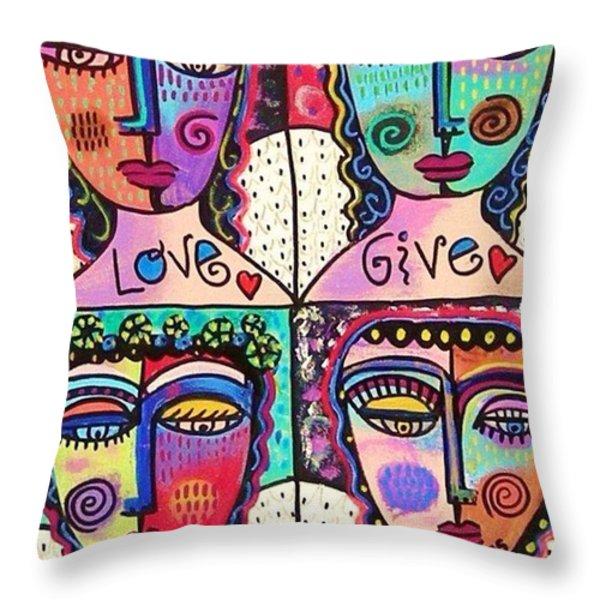 Four Gemstone Angels  Throw Pillow by Sandra Silberzweig
