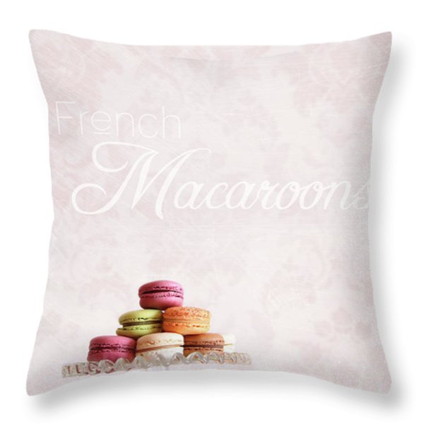 French macaroons on dessert tray Throw Pillow by Sandra Cunningham