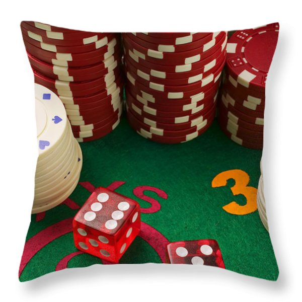 Gambling Dice Throw Pillow by Garry Gay