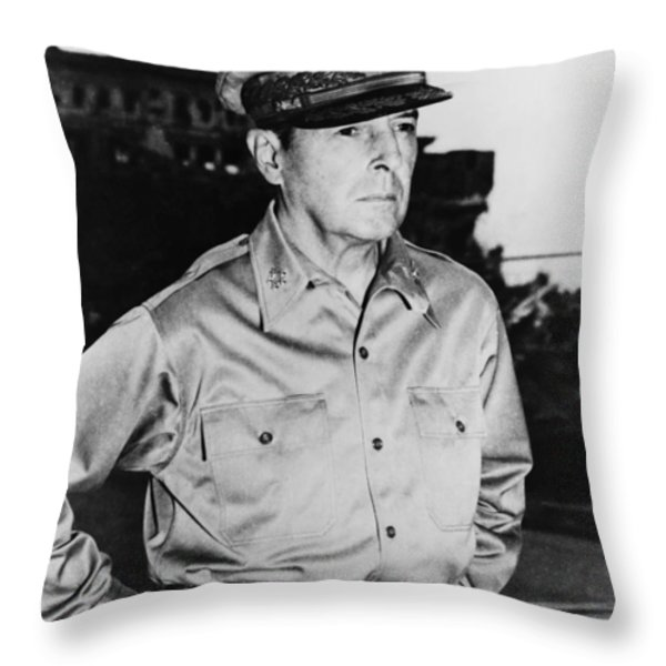General MacArthur Throw Pillow by War Is Hell Store