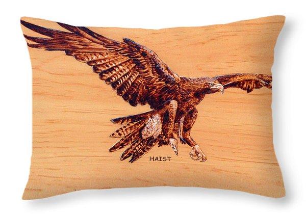 Golden Eagle Throw Pillow by Ron Haist