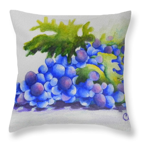 Grapes Throw Pillow by Chrisann Ellis