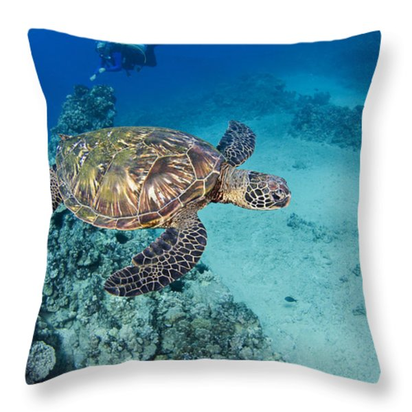 green sea turtles  Throw Pillow by Dave Fleetham - Printscapes