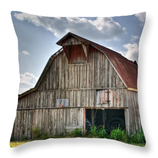 Grey Barn Throw Pillow by Douglas Barnett