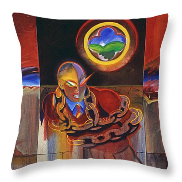 I Saw The Figure Five In Gold Throw Pillow by Charles Stuart