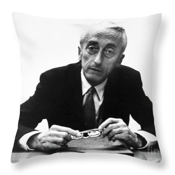 Jacques Cousteau (1910-1997) Throw Pillow by Granger
