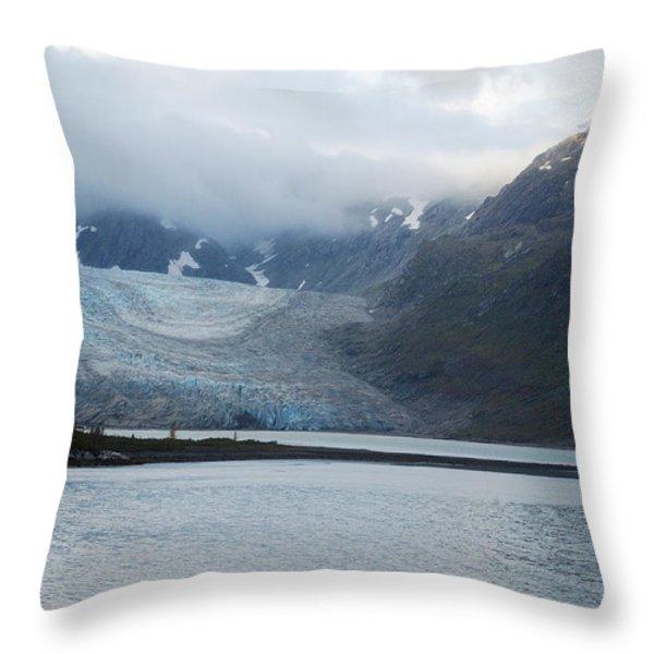 John Hopkins Glacier Throw Pillow by Michael Peychich