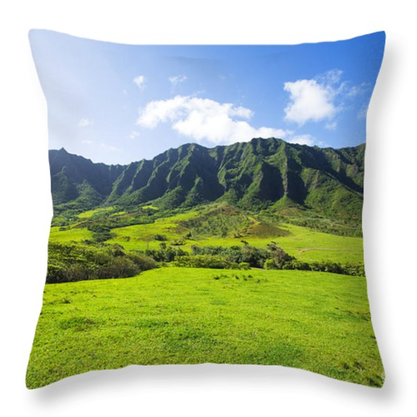 Kaaawa valley and Kualoa Ranch Throw Pillow by Dana Edmunds - Printscapes