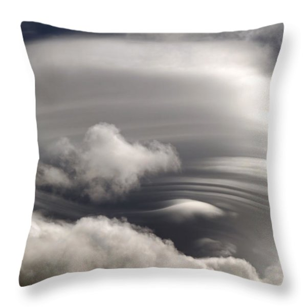 Lenticular Clouds Throw Pillow by Donna Kennedy
