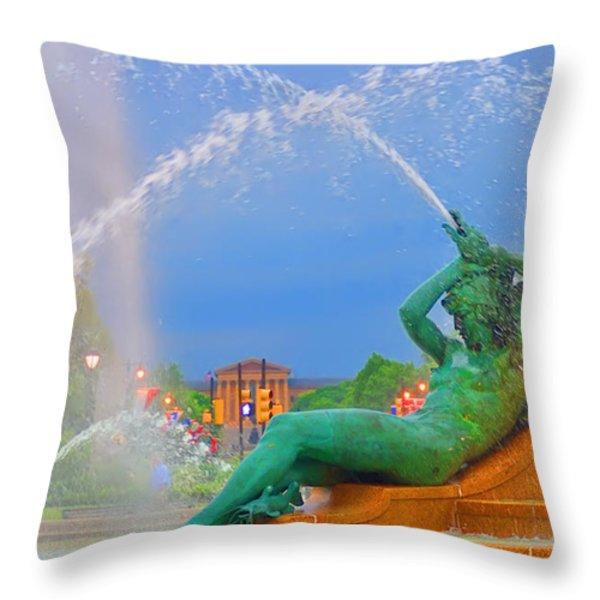 Logan Circle Fountain 1 Throw Pillow by Bill Cannon