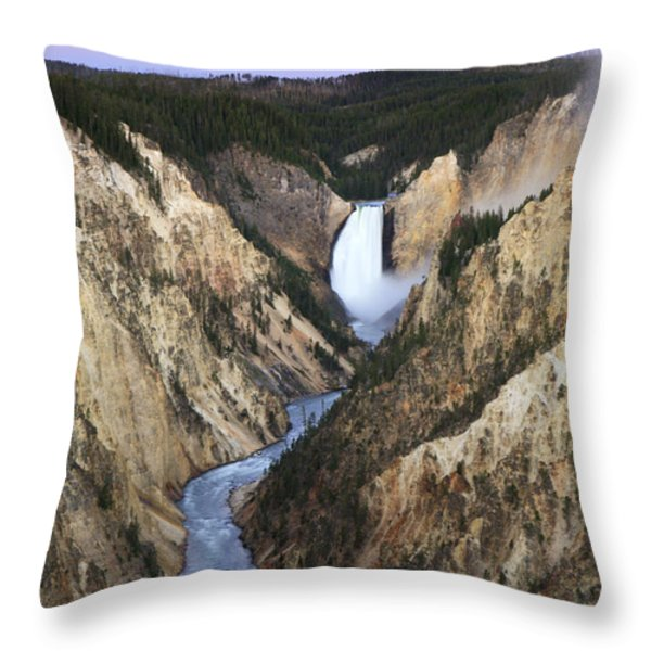 Lower Falls On The Yellowstone River Throw Pillow by Drew Rush