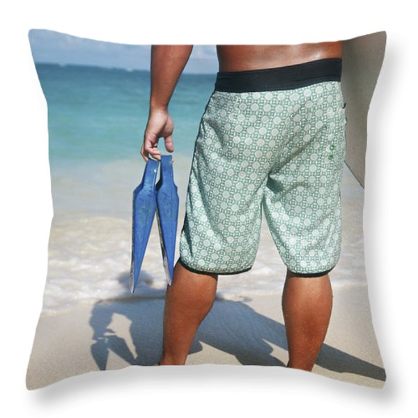 Male Bodyboarder Throw Pillow by Brandon Tabiolo - Printscapes