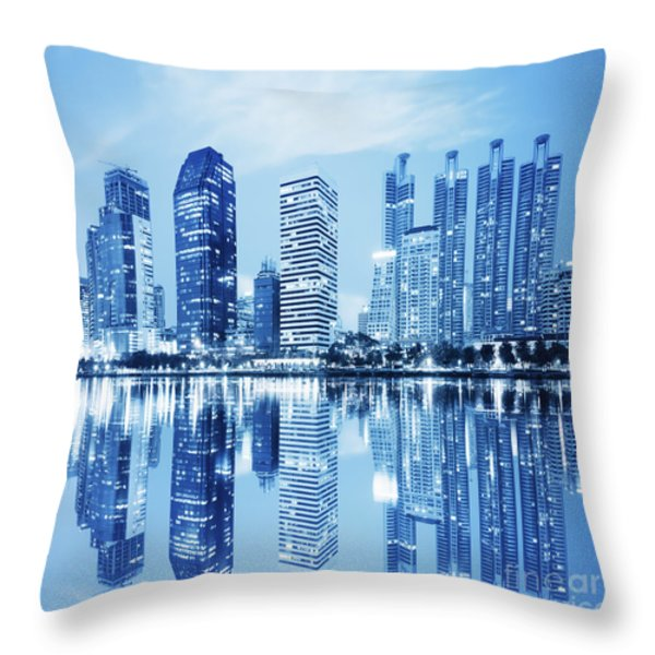 night scenes of city Throw Pillow by Setsiri Silapasuwanchai