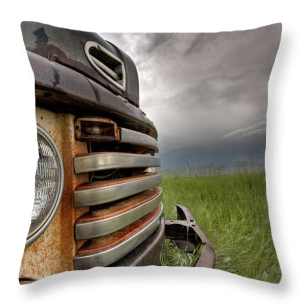 Old Vintage Truck On The Prairie Throw Pillow by Mark Duffy