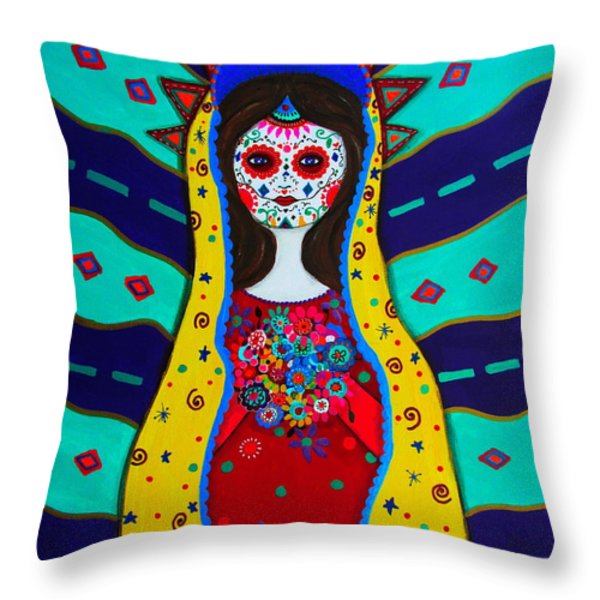 Our Lady Of Guadalupe Throw Pillow by Pristine Cartera Turkus