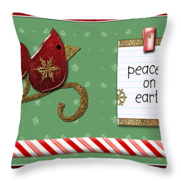 Peace On Earth Throw Pillow by Arline Wagner