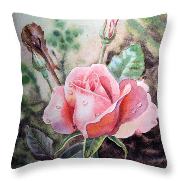 Pink Rose With Dew Drops Throw Pillow by Irina Sztukowski