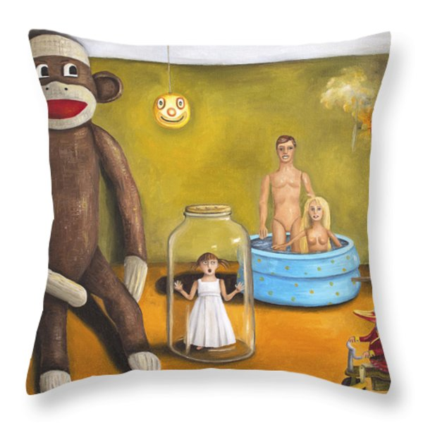 Playroom Nightmare 2 Throw Pillow by Leah Saulnier The Painting Maniac