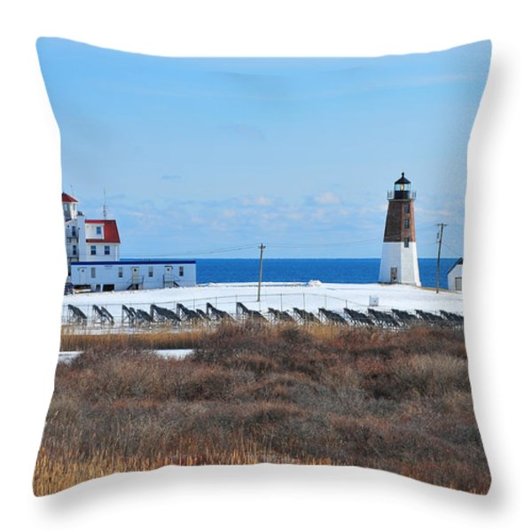 Point Judith Light Throw Pillow by Catherine Reusch  Daley