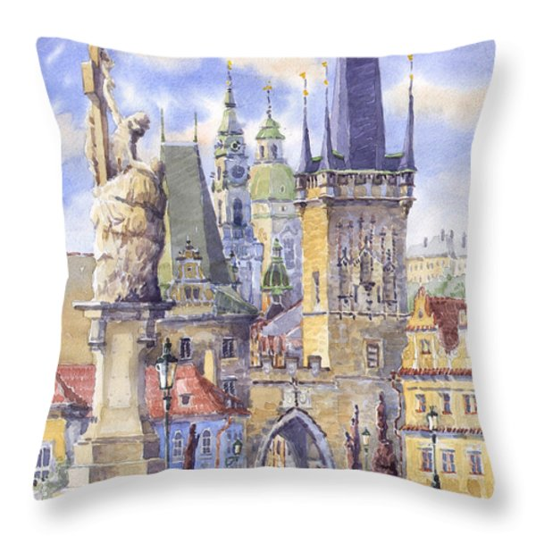Prague Charles Bridge Throw Pillow by Yuriy  Shevchuk