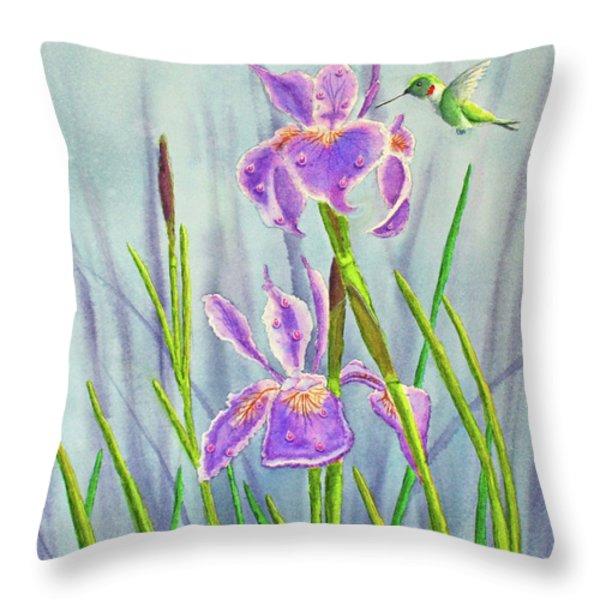Purple Dutch Iris And Hummer Throw Pillow by Kathryn Duncan