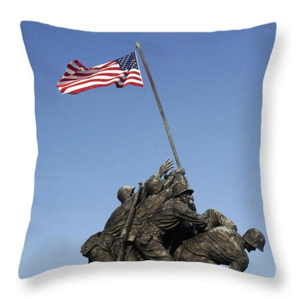 Raising The Flag On Iwo Throw Pillow by Paul W Faust -  Impressions of Light
