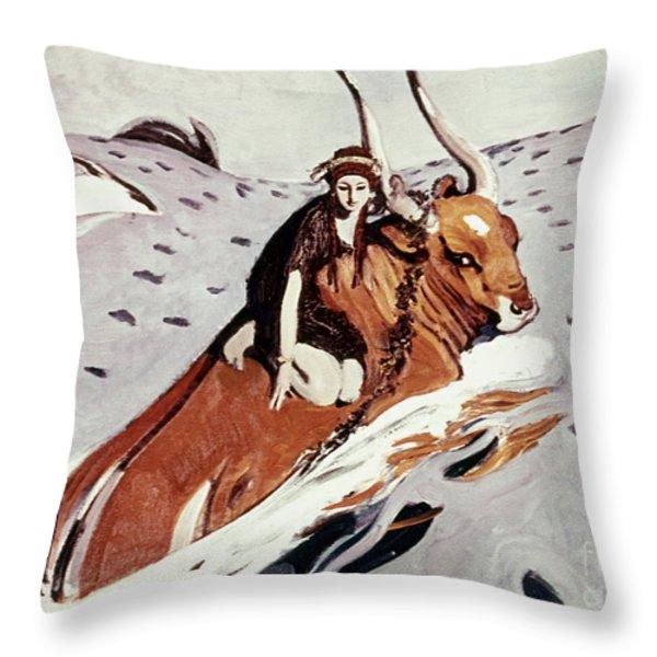 Rape Of Europa Throw Pillow by Granger