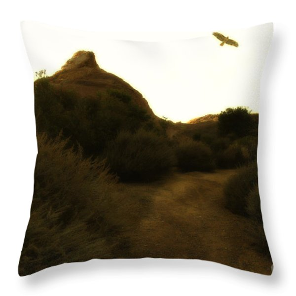 Red-tailed Hawk At Coyote Hills California . 7d11018 Throw Pillow by Wingsdomain Art and Photography