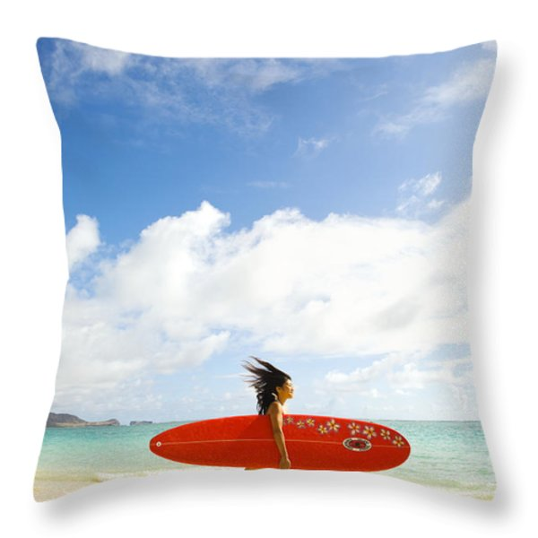 Running With Surfboard Throw Pillow by Dana Edmunds - Printscapes