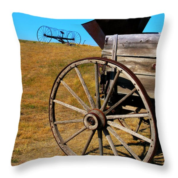 Rustic Wagon Throw Pillow by Perry Webster