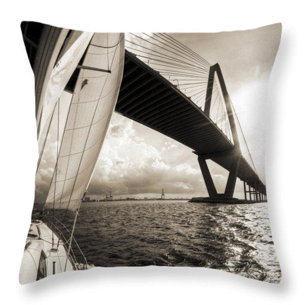 Sailing On The Charleston Harbor Beneteau Sailboat Throw Pillow by Dustin K Ryan