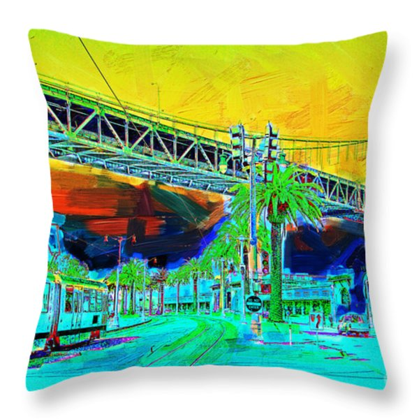 San Francisco Embarcadero And The Bay Bridge Throw Pillow by Wingsdomain Art and Photography