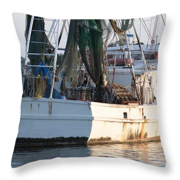 Shrimp Boat Throw Pillow by Dustin K Ryan