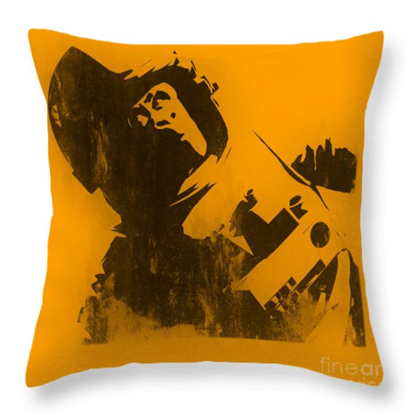 Space Ape Throw Pillow by Pixel Chimp