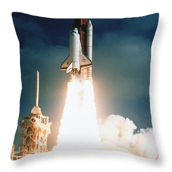 Space Shuttle Launch Throw Pillow by NASA / Science Source