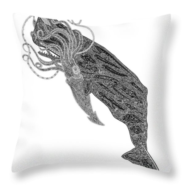 Sperm Whale And Squid Throw Pillow by Carol Lynne