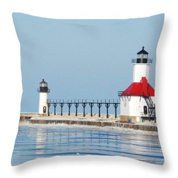 St Joseph North Pier Lights Throw Pillow by Michael Peychich