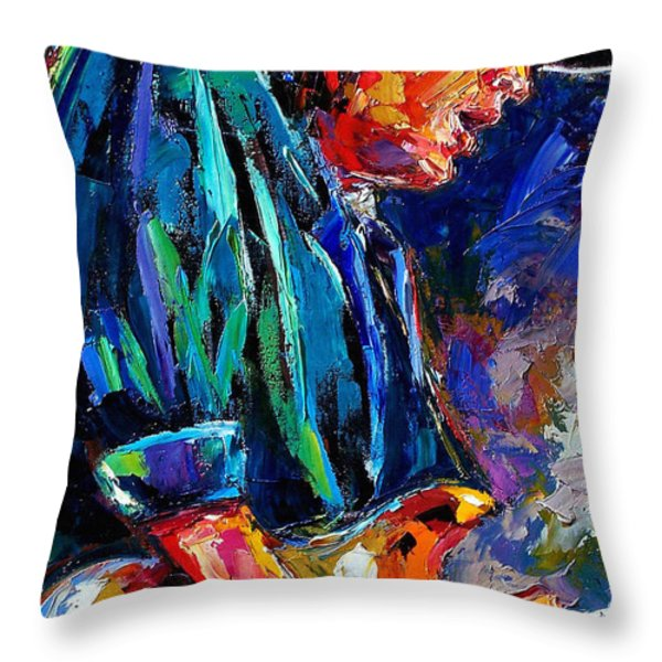 Stevie Ray Vaughan Throw Pillow by Debra Hurd