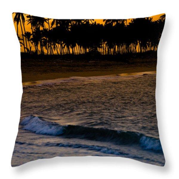 Sunset At The Beach Throw Pillow by Sebastian Musial