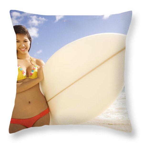 Surfer girl Throw Pillow by Sri Maiava Rusden - Printscapes