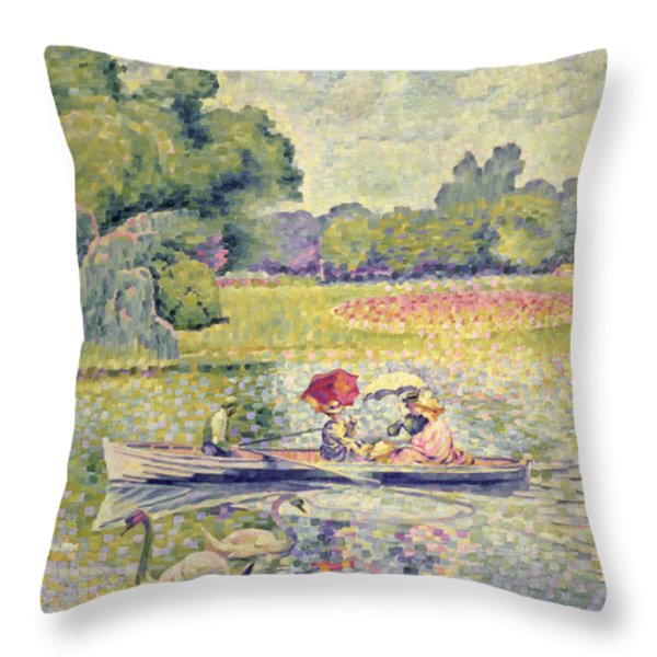 The Promenade In The Bois De Boulogne Throw Pillow by Henri-Edmond Cross