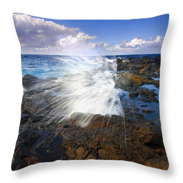 The Sea Erupts Throw Pillow by Mike  Dawson