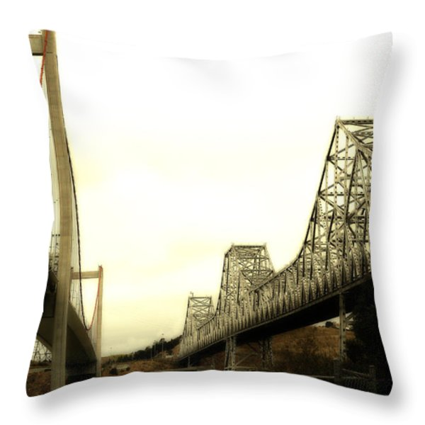 The Two Carquinez Bridges At Crockett and Vallejo California . aka Alfred Zampa Memorial Bridge . 7D8830 Throw Pillow by Wingsdomain Art and Photography