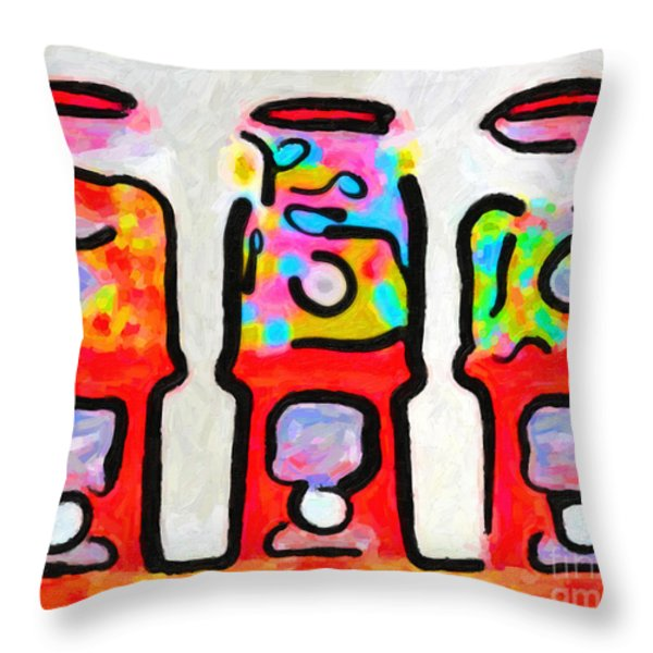 Three Candy Machines Throw Pillow by Wingsdomain Art and Photography