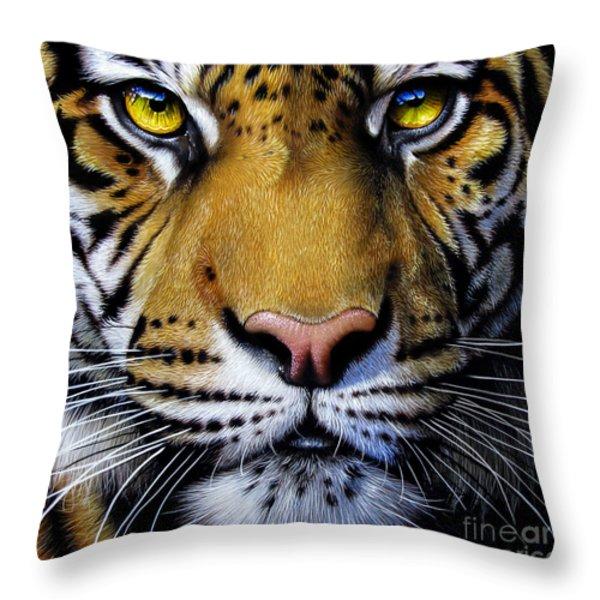 Tiger Throw Pillow by Jurek Zamoyski