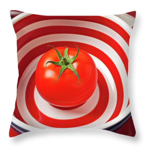 Tomato in red and white bowl Throw Pillow by Garry Gay